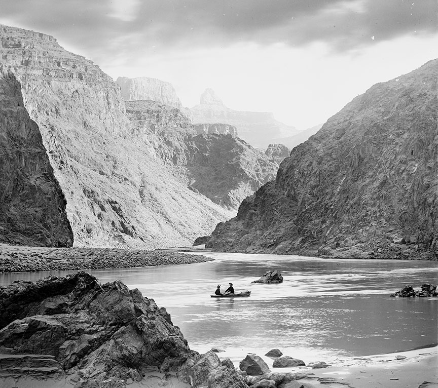 Dave Rust and Another Man in a Boat on the Colorado River, Grand Canyon