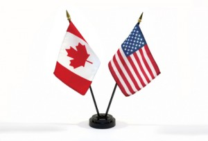 Canada and USA miniature flags