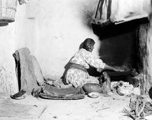 Blanch Tewanima making piki-Shungopavi Village, Second Mesa. June 28, 1944. HCPO.PH.2003.1.HH3.27