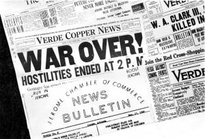 Verde Copper News War Headlines, 1918. NAU.PH.231.303