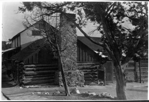 "Buckey O'Neill's cabin, south of the Grand Canyon </br><a href=""http://cdm16748.contentdm.oclc.org/cdm/ref/collection/cpa/id/8095"" target=""_blank"">Emery Kolb Collection NAU.PH.568.5623</a>"