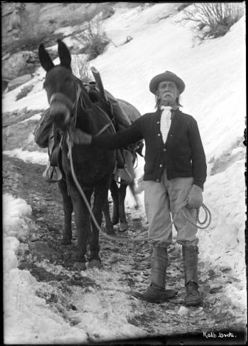 "Captain John Hance and horse on the Bright Angel Trail, Grand Canyon </br><a href=""http://cdm16748.contentdm.oclc.org/cdm/ref/collection/cpa/id/8174"" target=""_blank"">Emery Kolb Collection NAU.PH.568.9162</a>"