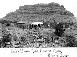 """Cookhouse at Last Chance Mine, Grand Canyon </br><a href=""""http://cdm16748.contentdm.oclc.org/cdm/ref/collection/ahsnd/id/322"""" target=""""_blank"""">Arizona Historical Society / Flagstaff AHS.0743.00011</a>"""