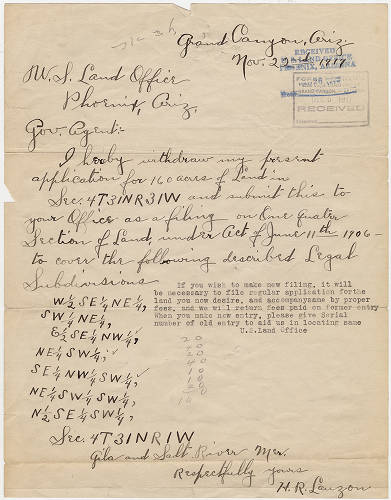 "[Correspondence: Bert Lauzon to U.S. Land Office, November 22, 1917] </br><a href=""http://archive.library.nau.edu/cdm/ref/collection/cpa/id/124452"" target=""_blank"">Lauzon Family 	nm238g000s005b004f0090i0011</a>"