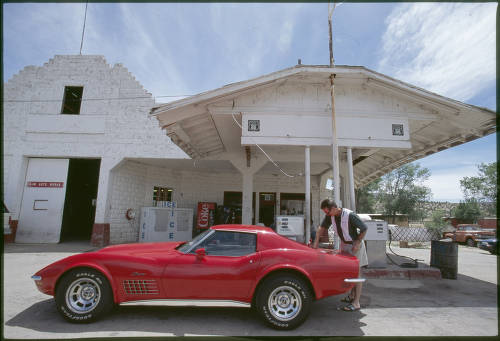 "Corvette, RD' s Pit Stop, Peach Springs, Arizona</br><a href=""http://cdm16748.contentdm.oclc.org/cdm/ref/collection/cpa/id/108407"" target=""_blank"">John Running Collection 	NAU.PH.2013.4.1.10.11.6</a>"