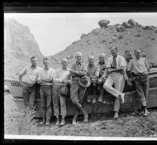 "Emery Kolb with USGS 1923 crew</br><a href=""http://archive.library.nau.edu/cdm/ref/collection/cpa/id/15710"" target=""_blank"">Emery Kolb Collection NAU.PH.568.3334</a>"