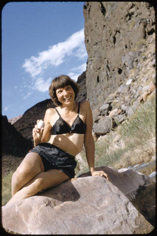"[Georgie White Clark in Grand Canyon, Ariz.]. </br><a href=""http://archive.library.nau.edu/cdm/ref/collection/cpa/id/13144"" target=""_blank"">Margaret Eiseman Collection NAU.PH.2004.8.2.2.19</a>"