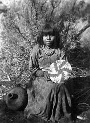 "[Havasupai woman with basket and pitched waterjar.]</br><a href=""http://cdm16748.contentdm.oclc.org/cdm/ref/collection/cpa/id/7709"" target=""_blank"">George Wharton James Collection NAU.PH.90.15.27</a>"