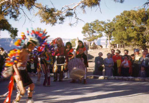 "[Hopi Dance at Hopi House, South Rim, Grand Canyon.]</br><a href=""http://cdm16748.contentdm.oclc.org/cdm/ref/collection/cpa/id/23182"" target=""_blank"">Grand Canyon Pioneers Historical Society Collection 	NAU.PH.97.9.422</a>"