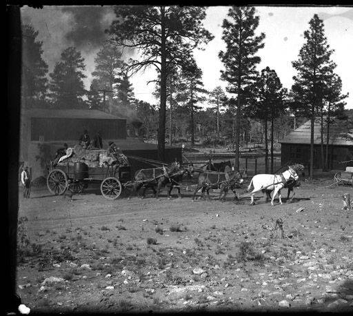 "Horses pulling a load of hay near an old school house, Grand Canyon </br><a href=""http://cdm16748.contentdm.oclc.org/cdm/ref/collection/cpa/id/14928"" target=""_blank"">Emery Kolb Collection NAU.PH.568.6494</a>"