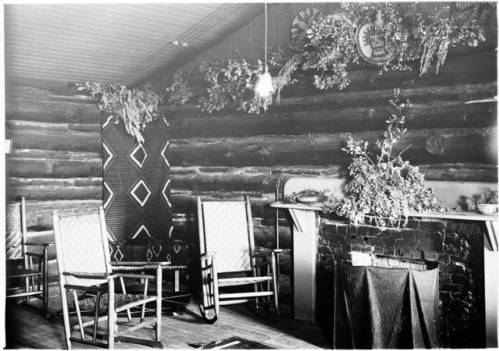 "Interior of Buckey O'Neill's cabin south of the Grand Canyon </br><a href=""http://cdm16748.contentdm.oclc.org/cdm/ref/collection/cpa/id/8079"" target=""_blank"">Emery Kolb Collection NAU.PH.568.3354</a>"