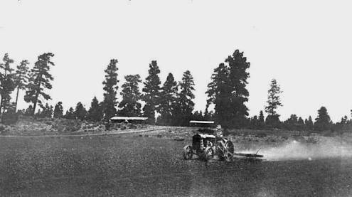 "Reed Homestead - Grand Canyon - 1919 (now Tusayan) - Mark Metzger on tractor.</br><a href=""http://cdm16748.contentdm.oclc.org/cdm/ref/collection/cpa/id/6187"" target=""_blank"">Grand Canyon Pioneers Historical Society Collection 	NAU.PH.90.9.126</a>"
