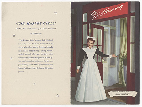 "Promotional Menu for the opening of the Harvey Girls Motion Picture.</br><a href=""http://archive.library.nau.edu/cdm/ref/collection/cpa/id/116001"" target=""_blank"">Fred Harvey (Firm) 	nm280g000s003b002f0032</a>"