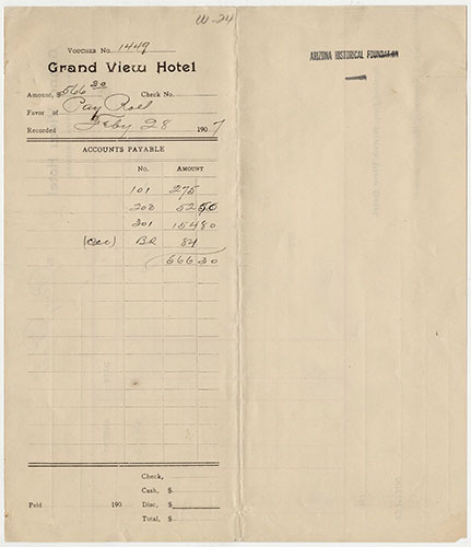 "Grand View Hotel Payroll, February 1907</br><a href=""http://archive.library.nau.edu/cdm/ref/collection/cpa/id/124056"" target=""_blank"">Grand View Hotel Payroll Collection nm466g000s000b001f0001i0001</a>"
