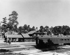 """A.T. & S.F. Station with Train. Arizona--Grand Canyon--Grand Canyon Village--Depot.... </br><a href=""""http://archive.library.nau.edu/cdm/ref/collection/cpa/id/6335"""" target=""""_blank"""">Fred Harvey (Firm) Collection NAU.PH.95.44.36.3</a>"""