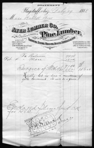 """Bill from Arizona Lumber Company to Babbitt Bros. for $156.03 dated March 9, 1888. </br><a href=""""http://cdm16748.contentdm.oclc.org/cdm/ref/collection/cpa/id/61119"""" target=""""_blank"""">Gertrude Babbitt Collection nm179g000s000b004f0094i001p001</a>"""