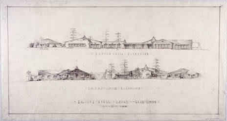 Bright_Angel_Lodge_Grand_Canyon_side_elevation_and_front_south_elevation_Pencil_drawing_681_x_365_cm_Signed_MEJC_December_23_1933