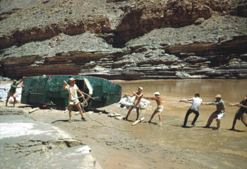 """[Colorado River Trip 7-50] Getting Esmeralda to water 7-21-50.</br><a href=""""http://cdm16748.contentdm.oclc.org/cdm/ref/collection/cpa/id/834"""" target=""""_blank"""">P.T. Reilly Collection NAU.PH.97.46.122.46</a>"""