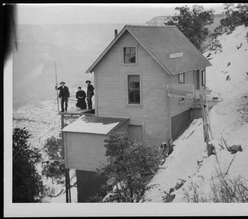 "Ellsworth, Emery, and Blanch Kolb at the Kolb Studio, winter, 1904 </br><a href=""http://archive.library.nau.edu/cdm/ref/collection/cpa/id/71633"" target=""_blank"">Emery Kolb Collection NAU.PH.568.777</a>"