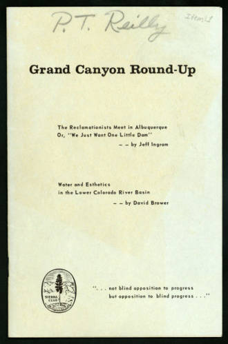 """Grand Canyon Round-Up; Dams in Grand Canyon - a necessary evil?</br><a href=""""http://archive.library.nau.edu/cdm/ref/collection/cpa/id/42357"""" target=""""_blank"""">P.T. Reilly Collection nm275g000s001b008f0112</a>"""