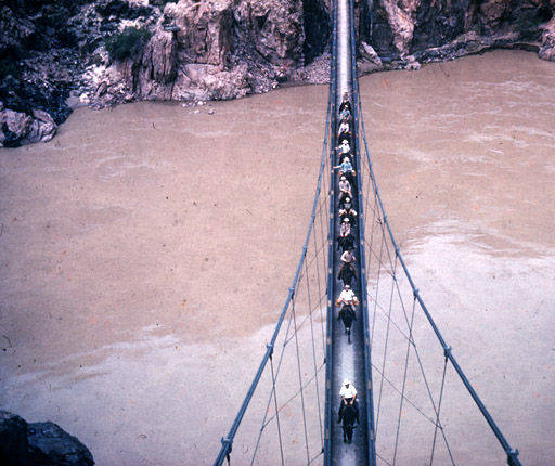 """Horses and riders on bridge over Colorado River in the Grand Canyon.</br><a href=""""http://archive.library.nau.edu/cdm/ref/collection/cpa/id/23295"""" target=""""_blank"""">William Bass Collection NAU.PH.96.24.86.2.248</a>"""