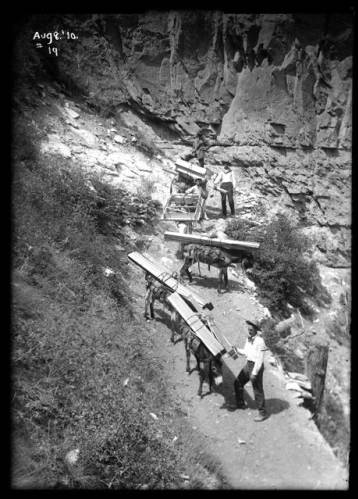"""'How We Brought in the Lumber To Build a Studio in the Canyon' [National Geographic, August 1914, p. 130]. </br><a href=""""http://archive.library.nau.edu/cdm/ref/collection/cpa/id/7905"""" target=""""_blank"""">Emery  Kolb Collection NAU.PH.568.9236</a>"""