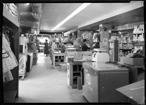 "Interior of Babbitt's General Store, Grand Canyon, 1959. </br><a href=""http://archive.library.nau.edu/cdm/ref/collection/cpa/id/8156"" target=""_blank"">Emery Kolb NAU.PH.568.3400</a>"