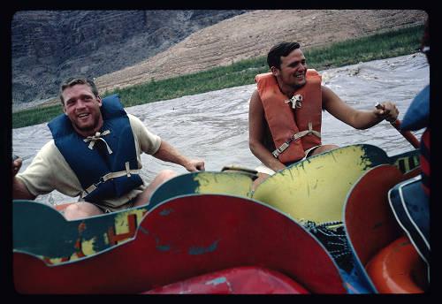 "[John Evans and Buzz Belknap Sportkayaking]</br><a href=""http://archive.library.nau.edu/cdm/ref/collection/cpa/id/122300"" target=""_blank"">Bill Belknap Collection NAU.PH.96.4.112.8</a>"