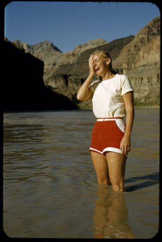 "Katie Lee, Grand Canyon, circa 1953. </br><a href=""http://archive.library.nau.edu/cdm/ref/collection/cpa/id/22058"" target=""_blank"">Tad Nichols Collection NAU.PH.99.3.2.5.114</a>"