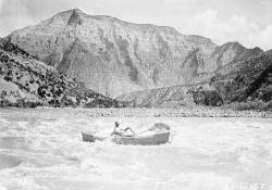 """Mr. Galloway's Boat in rapid No.5 [in Split Mountain Canyon.] </br><a href=""""http://archive.library.nau.edu/cdm/ref/collection/cpa/id/3574"""" target=""""_blank"""">Julius F Stone Collection NAU.PH.97.34.46</a>"""