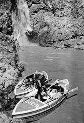 "[The 'Flavell' and the 'Susie-R' tied up] at Deer Creek Falls 80,000 [CFS] 5-25-58</br><a href=""http://archive.library.nau.edu/cdm/ref/collection/cpa/id/1974"" target=""_blank"">P.T. Reilly Collection 	NAU.PH.97.46.29.35</a>"