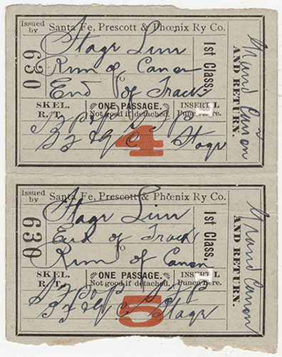 """Tickets: Round Trip Grand Canyon, June 4, 1901</br><a href=""""http://archive.library.nau.edu/cdm/ref/collection/p16748coll2/id/10"""" target=""""_blank"""">Grand Canyon National Park Museum Collection GRCA14869</a>"""