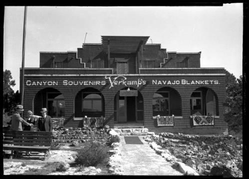 "Verkamp's Store, Grand Canyon. </br><a href=""http://archive.library.nau.edu/cdm/ref/collection/cpa/id/65404"" target=""_blank"">Emery Kolb Collection NAU.PH.568.9784</a>"