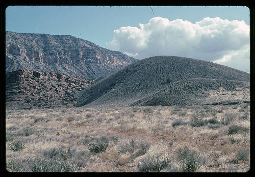 """Volcano in Prospect Canyon east of Toroweap fault</br><a href=""""http://archive.library.nau.edu/cdm/ref/collection/cpa/id/119525"""" target=""""_blank"""">George Billingsley Collection NAU.PH.2000.54.9.28.9</a>"""