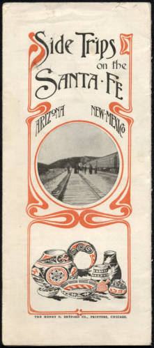 """Santa Fe Railway promotional pamplets and menus [constructed title], 1903-1951.</br><a href=""""http://archive.library.nau.edu/cdm/ref/collection/cpa/id/34689"""" target=""""_blank"""">George Babbitt Collection nm255g000s001b002f0048</a>"""