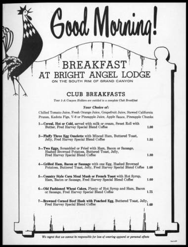 "El Tovar Hotel and Bright Angel Lodge Menus.</br><a href=""http://archive.library.nau.edu/cdm/ref/collection/cpa/id/43636"" target=""_blank"">Fred Harvey (Firm) Collection nm280g000s003b001f0003</a>"