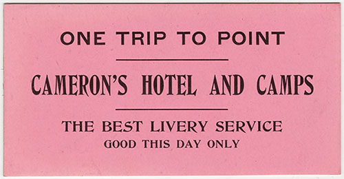 "Livery Ticket for Cameron's Hotel and Camps </br><a href=""http://archive.library.nau.edu/cdm/ref/collection/p16748coll2/id/43"" target=""_blank"">Grand Canyon National Park Museum Collection, GRCA21224</a>"