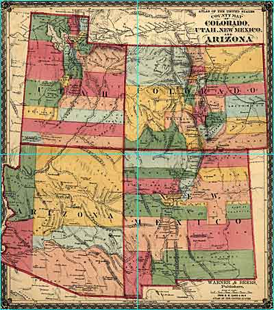 Colorado Utah New Mexico And Arizona By Warner And Beers Ca - Map of arizona and new mexico