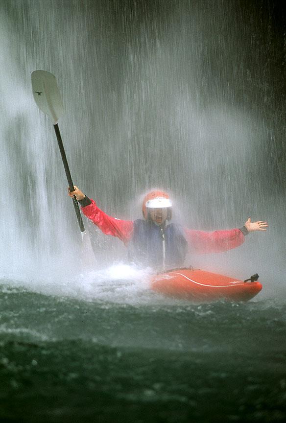 [Kayaker Under Waterfall]