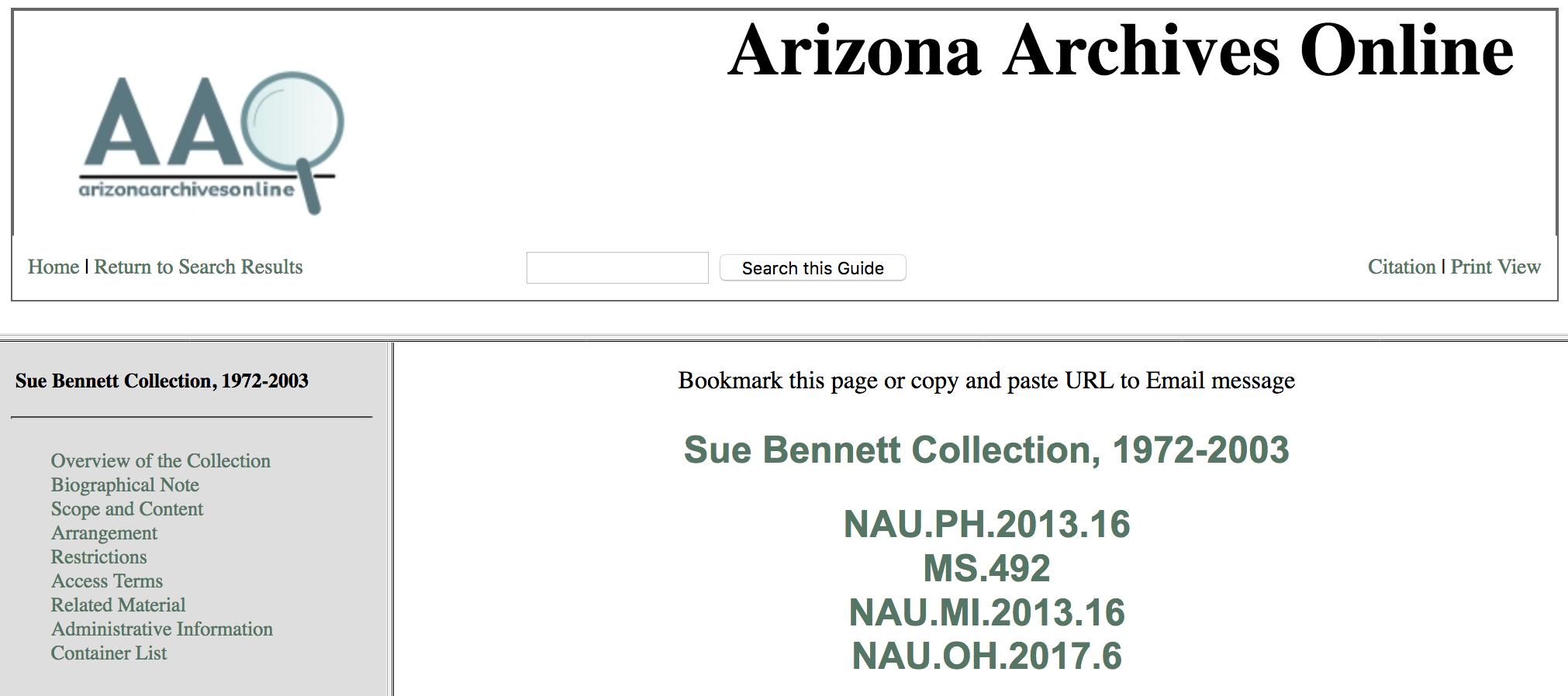 Arizona Archives Online Bennett Guide