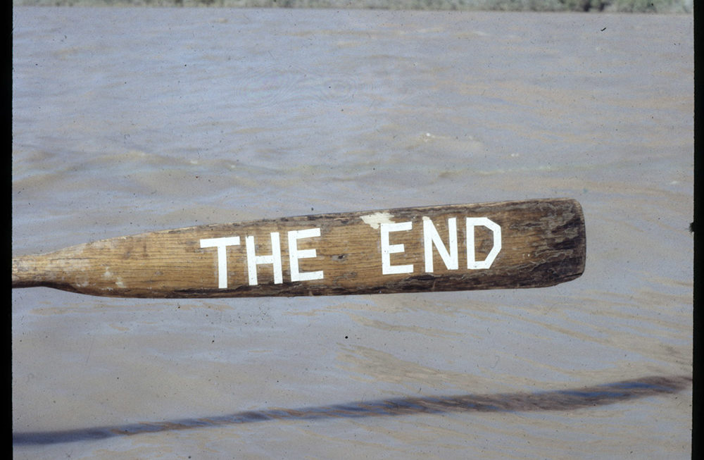 """Oar with """"The End"""" on it"""