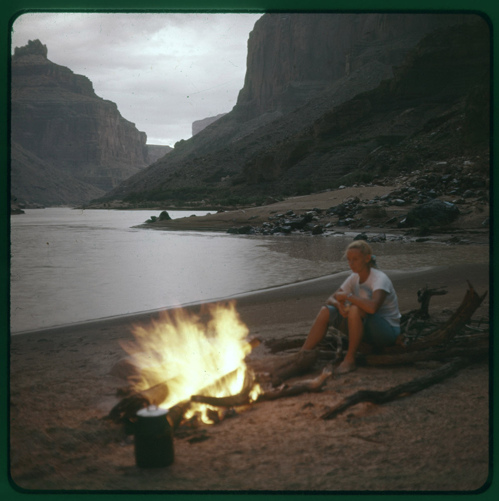 Campfire on beach in Marble Gorge