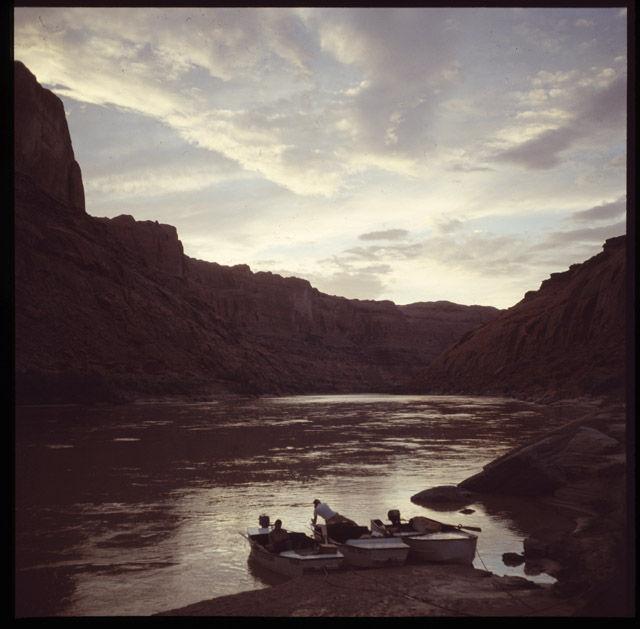 Three boats in Glen Canyon