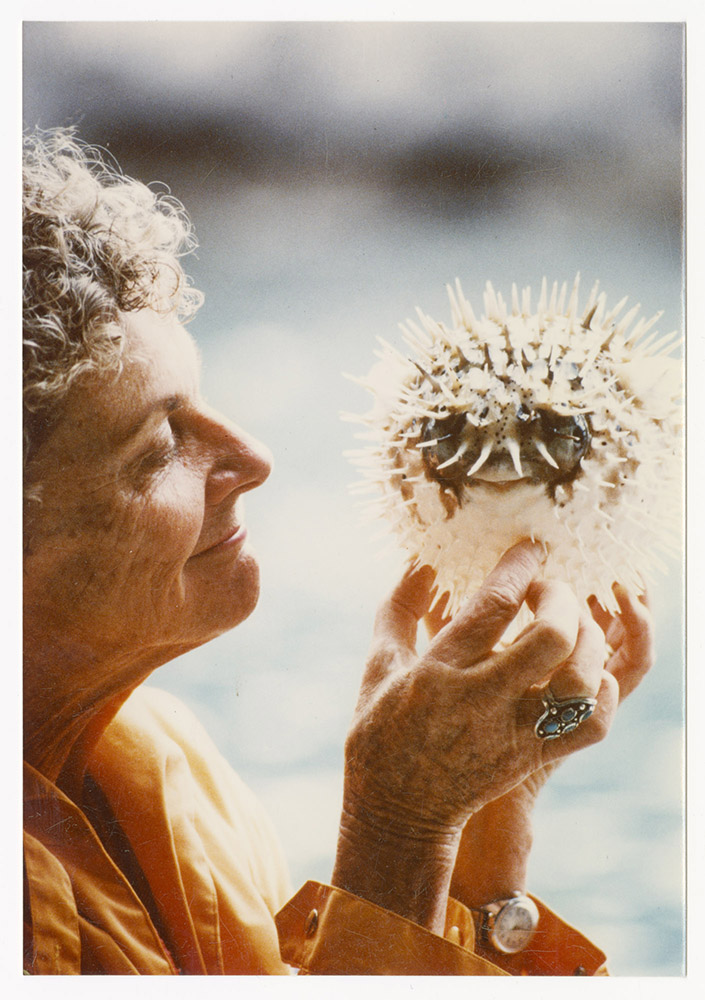 Katie Lee holding a puffer fish