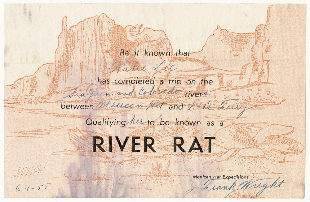River Rat Certificate
