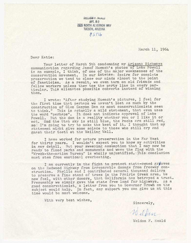 Letter from Weldon Heald