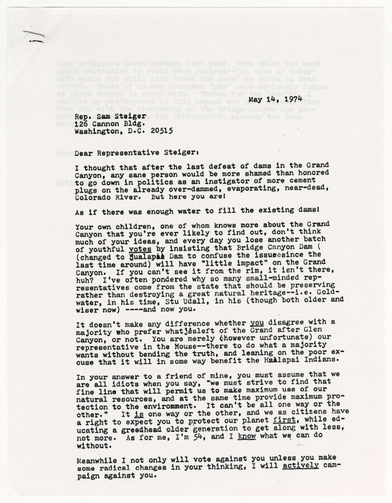Letter to Sam Steiger