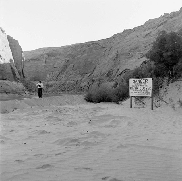 Katie near River Closed sign